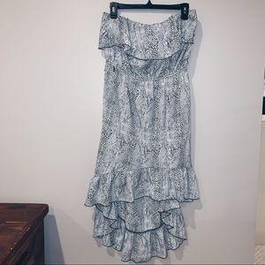 Strapless Animal Print High Low Dress